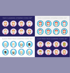 face cleaning and care actions big set vector image