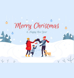family making snowman holiday card merry vector image