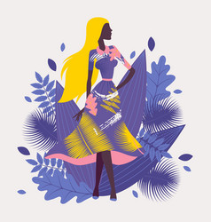 fashion model demonstrating new clothes collection vector image