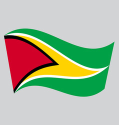 Flag of guyana waving on gray background vector