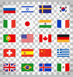 Flags icons on transparent background vector