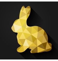 Flat design polygon of golden Easter Bunny vector image