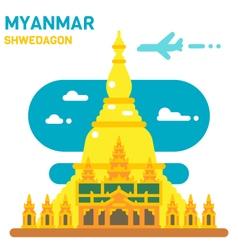 Flat design Shwedagon pagoda vector image