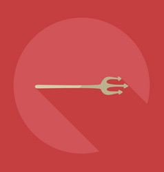 Flat modern design with shadow icons trident vector