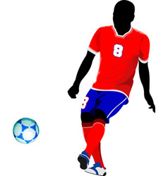 Football player on the field colored for designers vector