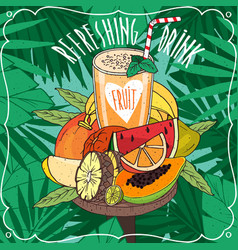 fresh orange juice with many tropical fruits vector image