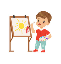 Frustrated boy stained the picture with blotch vector