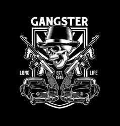 Gangster skull with machine guns vector