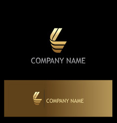 Gold letter l shape logo vector