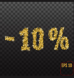 gold sale 10 percent golden sale 10 percent on vector image