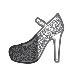 Gray thick contour of high heel shoe with stain vector