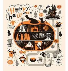 halloween party design template with dracula vector image
