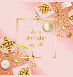 Happy birthday my girl pink greeting card vector