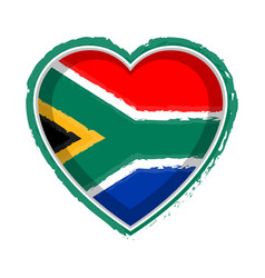 Heart shaped flag of south africa vector