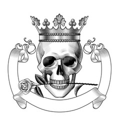 human skull full face in crown and with a vector image