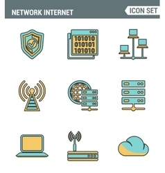 Icons line set premium quality of cloud computing vector image