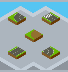 Isometric road set of driveway strip turning and vector