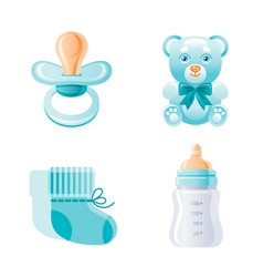 it s a boy newborn icon set 3d cartoon baby born vector image