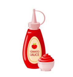 Ketchup sauce in bottle with bowl cup tomato hot vector