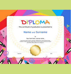 Kids diploma or certificate template with vector