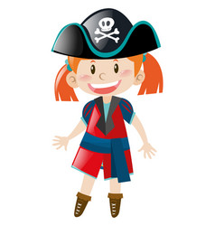 Little girl in pirate outfit vector