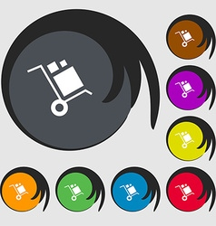 Loader Icon sign Symbols on eight colored buttons vector