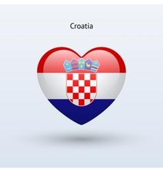 Love croatia symbol heart flag icon vector