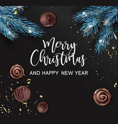 merry christmas and happy new year pine and sweets vector image