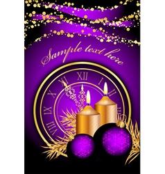 Merry christmas clock frame purple gold vector