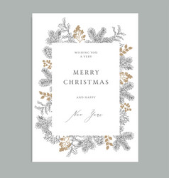 Merry christmas happy new year vintage floral vector
