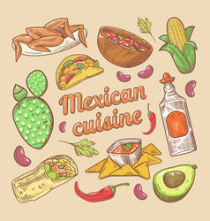 Mexican cuisine traditional food hand drawn doodle vector