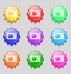 microwave icon sign symbol on nine wavy colourful vector image