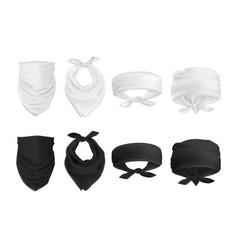Mock up set black and white bandana buff vector