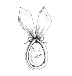 monochrome easter bunny ears with egg vector image