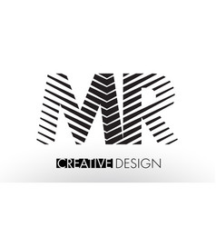 Mr m r lines letter design with creative elegant vector