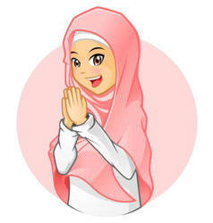 Muslim Girl with Salutation Pose vector image
