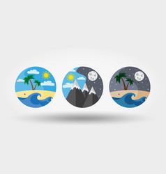 Nature vacation camping set icons logos vector