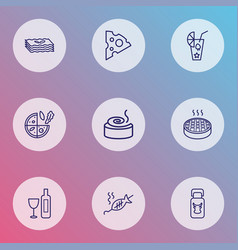 Nutrition icons line style set with vegetarian vector