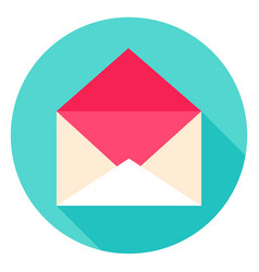 Open envelope circle icon vector