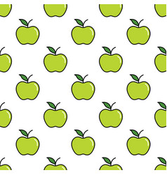 Pattern with thin line green apples vector