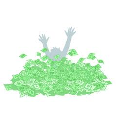 Person drown in money cash vector