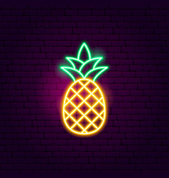 pineapple neon sign vector image