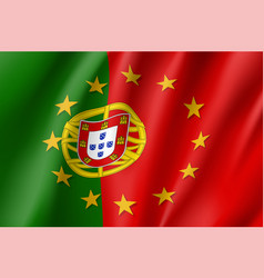 Portugal national flag with a star circle of eu vector