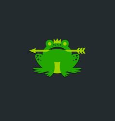 princess frog logo crown and arrow fairy tale icon vector image