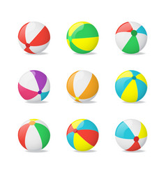 realistic detailed 3d beach balls set vector image