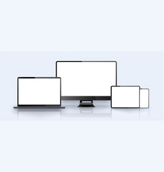 Realistic silver white laptopsmartphone tablet vector