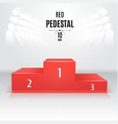 red 3d-pedestal template exhibition place vector image