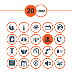 Religion icons set with tower adhaan calendar vector