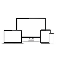 responsive web design computer display with laptop vector image