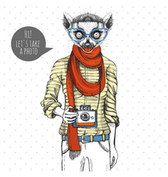 Retro hipster animal lemur with photo camera vector